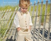 RESERVED for F- Toddler Boys Tan Suit Vest, Pants, Tie Set- 3 Piece Suit- SEE MEASUREMENTS- Size 12 months- Ring Bearer- Wedding Suit- Form