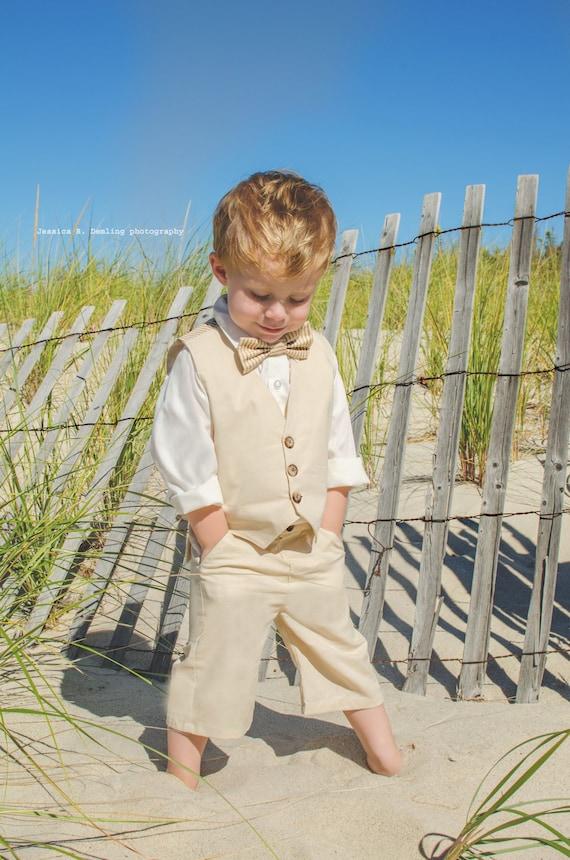 Size 3T Toddler Boys Suit Tan Color Vest Shorts Or Pants