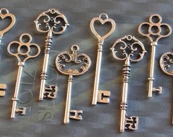 12 Large Skeleton Key Collection Antiqued Silver