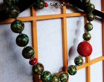 Blue-Green Chinese Turquoise & Cinnabar Necklace