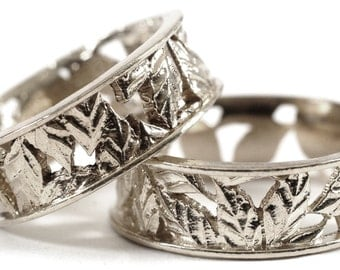 Leaf Ring Wedding Ring Set Custom Made With Cherry Tree Leaves in 10K Gold, Made in Your Size R5005