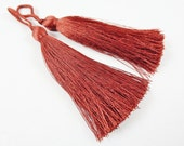 Long Bombay Brown Silk Thread Tassels -  3 inches - 77mm  - 2 pc