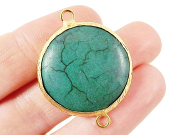 26mm Emerald Green Dyed Turquoise Stone Connector - Round Smooth - 22k Matte Gold plated Bezel - 1pc