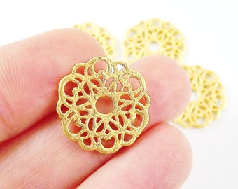4 Round Rustic Fretwork Lace Charms - 22k Matte Gold Plated
