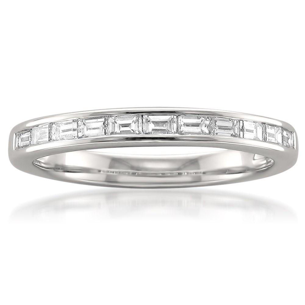 14k white gold baguette bridal wedding band ring 1 2
