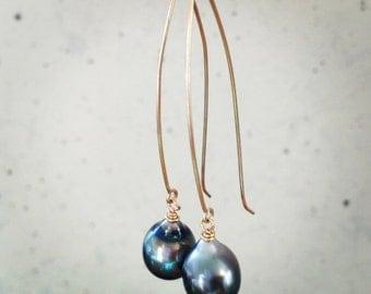 14kt Gold Tahitian Pearl Earrings