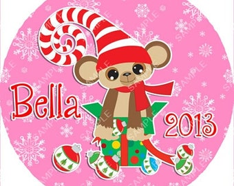 Monkey Christmas Ornament Personalized for you Snowflake or Disc Christmas Holiday Ornament