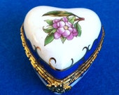 Vintage porcelain golden blue flowers pill box // jewelry box heart shaped