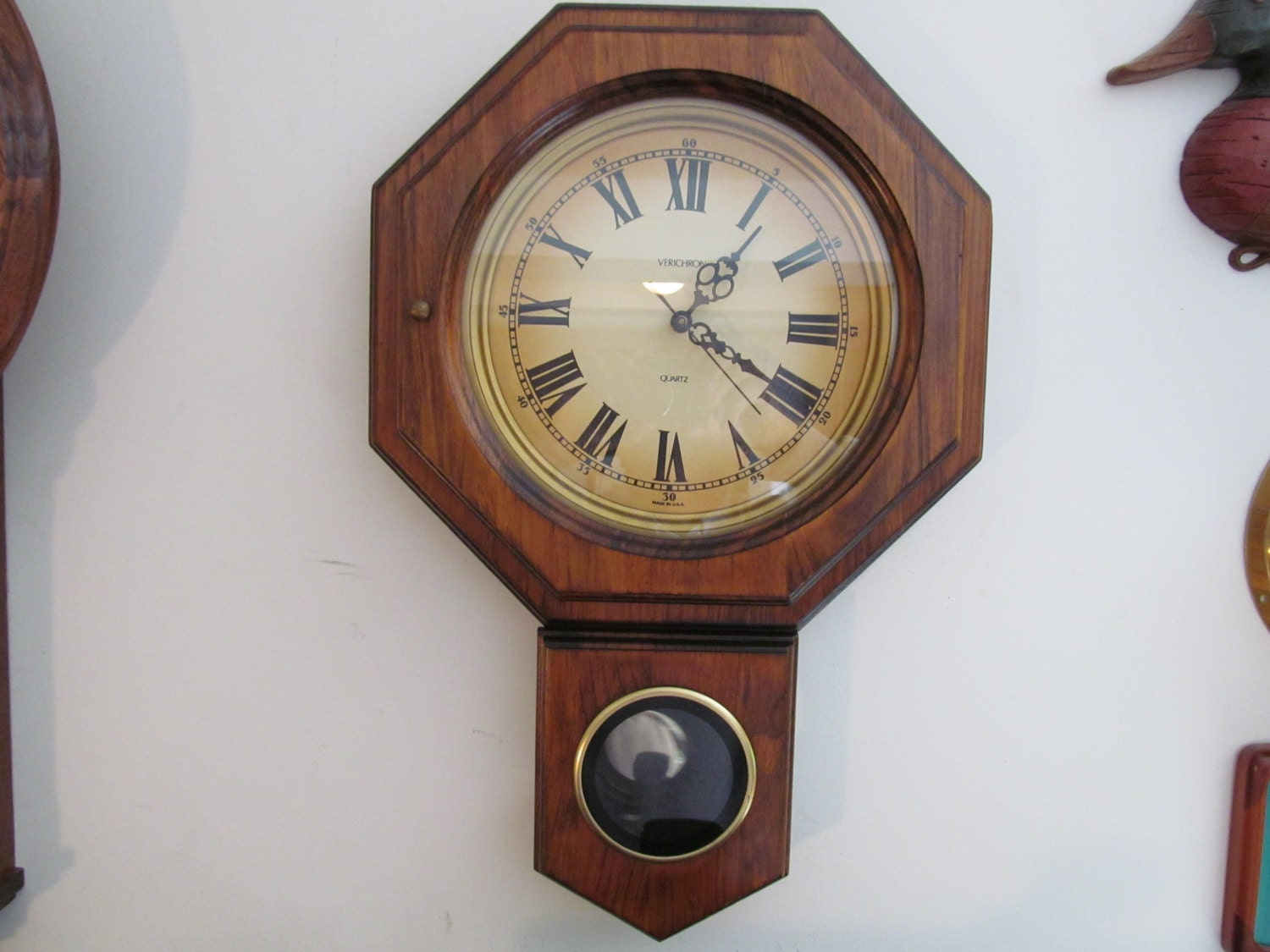 Vintage Wall Clock With Pendulum By Verichron Made By