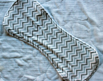 CLEARANCE - Grey Chevrons Contoured Burp Cloth