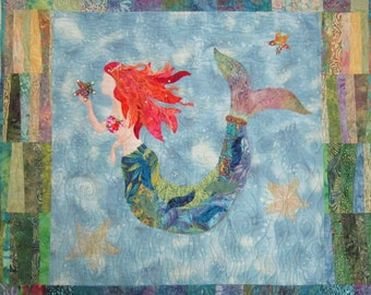 The Mermaid raw edge applique and pieced wall quilt pattern