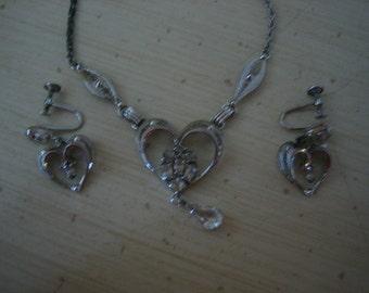 Vintage Am Lee Amlee Sterling Heart Rhinestone Elegant Party Necklace and Earrings Set