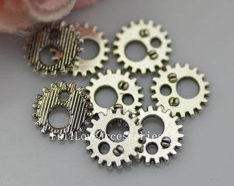 50pcs 12mm Antique Silver Mini Gear Charms Pendant, Wheel Gear Charm, Mechanical Gear Charm Connector
