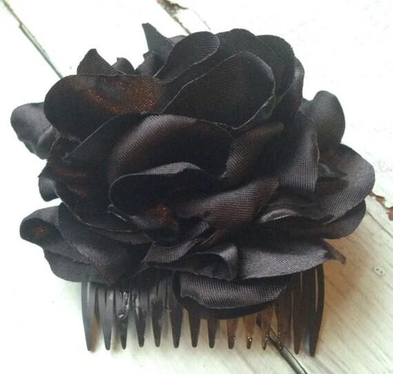 Black Flower Hair Accessory J7213: Black Fabric Flower Hair Accessories Black By