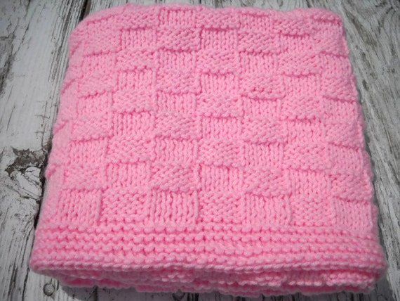 pink baby decke hand stricken basketweave von. Black Bedroom Furniture Sets. Home Design Ideas