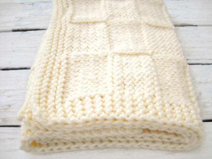 Baby Chunky Blanket Afghan White Knit Antique White