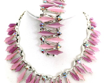 Pink and Purple Thermoset Necklace and Bracelet Demi