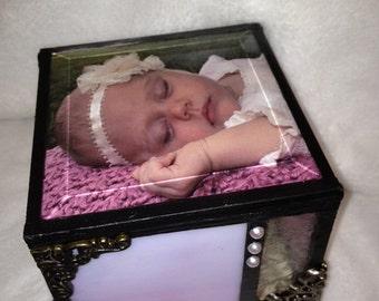 Baby girl stain glass memory keepsake box shabby chic cottage chic little girl baby shower gift