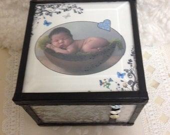little boy stained glass memory keepsake baptism customized birthday shabby chic cottae chic gift