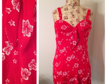 Vintage 1960s 1970s Beach Cabana Red Hawaiian Flowers Swimsuit Size L Swimwear Beach Party Floral White Tie Skirt Cover Up Vacation Resort