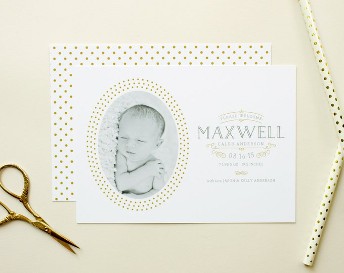 Birth Announcement Photo Card, Gender Neutral Birth Announcement for Boy or Girl, Gold Birth Announcements with Newborn Photo - Treasured