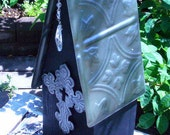 Decorative Bird Cottage with Cross. Embossed  Faux Pewter Tin Roof, One of a Kind