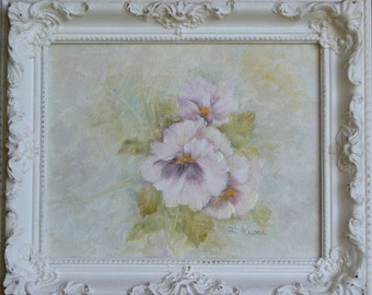 Lavender Pansies, Shabby Chic Frame, Free Shipping