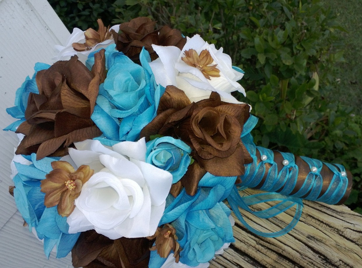Brown And Teal Wedding Ideas: 17 Piece Malibu Blue Orange Brown White By SilkFlowersByJean