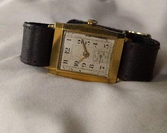 Vintage Art Deco Watch, Men's Gold Plated 1930s Swiss Watch, Manual Wind, Fully Funcional - Free Shipping