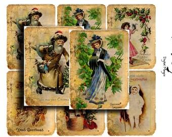 vintage christmas digital collage sheet atc printable download