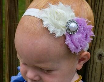 Baby Headband, baby headbands, Lavender headband, newborn headband, shabby chic headband, easter headband, toddler headband, flower headband