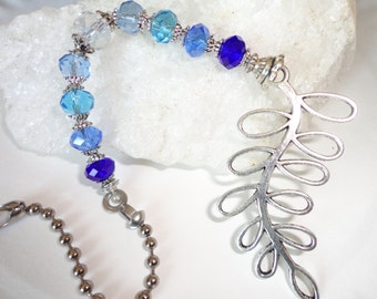 custom colors available. Light pull, ceiling fan pull, leaf and blue crystal beaded ball chain pull. Decorative pull chain. Lighting decor.