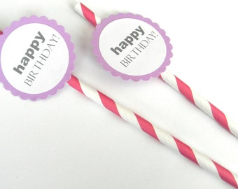 12 Happy Birthday Party Straws - Hot Pink Stripe Straws