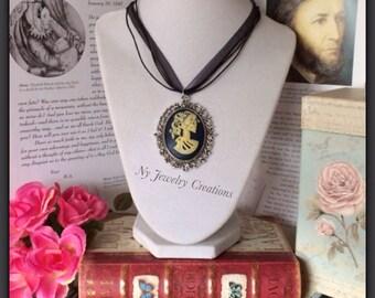 Lolita Cameo Necklace, Swarovski crystals, Skull Cameo