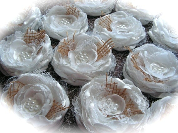 Wedding Flowers  White  and Burlap  - for wedding decorations, - set of 12.