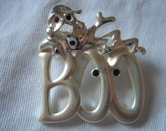 Vintage Signed Danecraft Silvertone/Matt/Rhinestones Boo said the Ghost Brooch/Pin