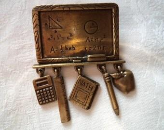 Vintage Signed JJ Bronze pewter School Blackboard Dangler Brooch/Pin