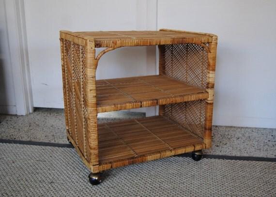 Vintage Retro Natural Woven Wicker/Rattan Rolling Cart Nightstand Shelving Unit, Tropical, Tiki, Palm Beach Regency