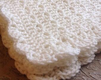 Crochet Baby Blanket, Newborn White Baby Blanket, CUSTOM, Christening Blanket, Baptism Blanket, Knit Stroller Afghan, Baby Shower Gift