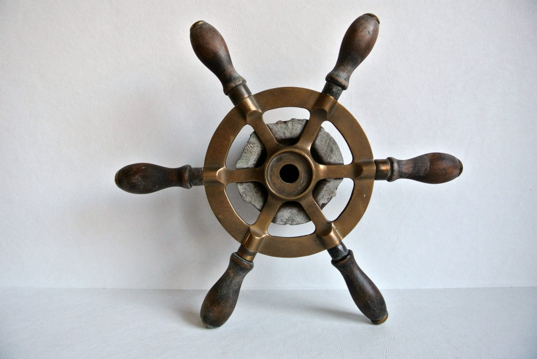 Vintage 1960s Nautical Small Ship Wheel Boat Rope Wheel Beach