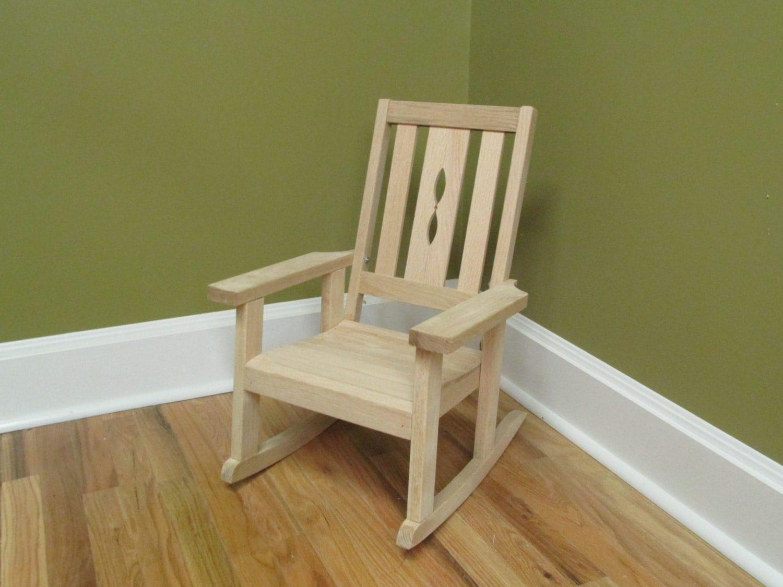 Child Skids Oak Hardwood Rocking Chair Unfinished