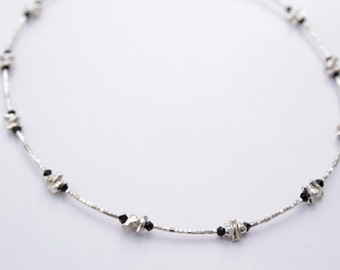 Choker 925 silver beads and black crystal.