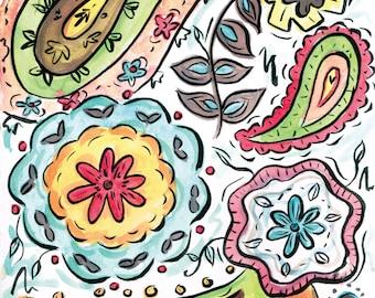 Funky Paisley Watercolor Digital Fine Art Print 8x10