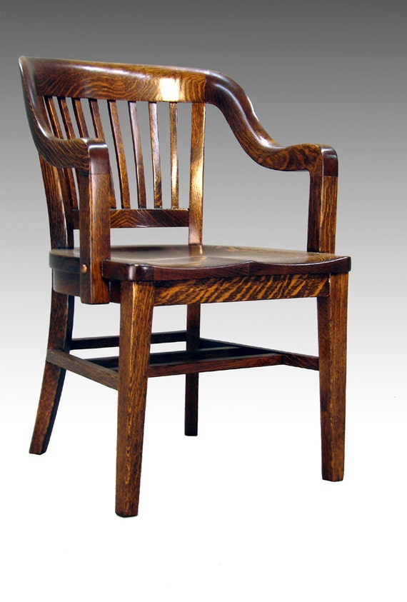 Oak curved back barrister arm chair