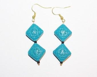 Handmade Pierced  Earrings Blue Cinnabar               - S361