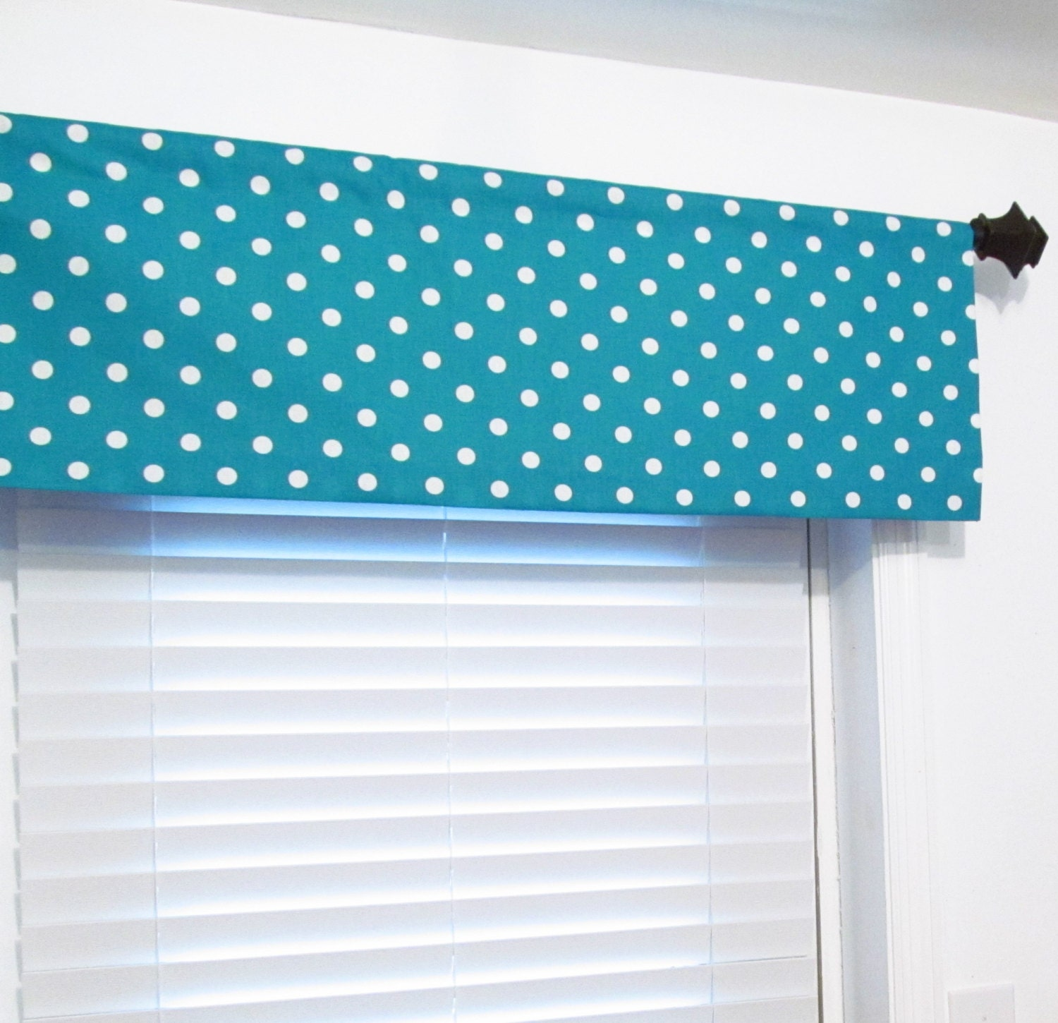 True Turquoise Polka Dots Curtain Valance Handmade By Oldstation