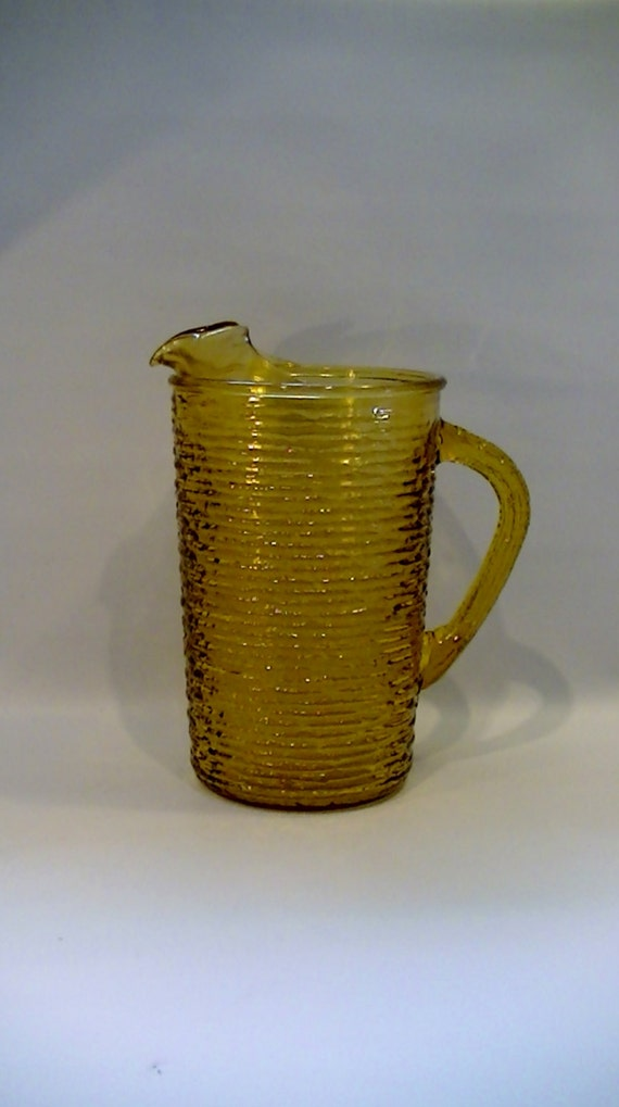 Vintage Anchor Hocking Soreno Amber Glass Juice Pitcher