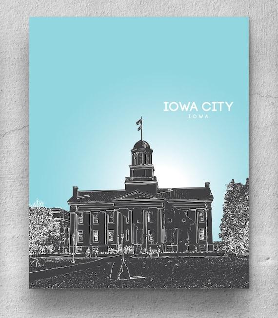 Iowa City Skyline Print Home Decor Art Poster Unique