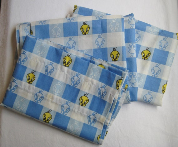 Tweety Bird Looney Tunes Blue Plaid Checkered By Missussewnsew
