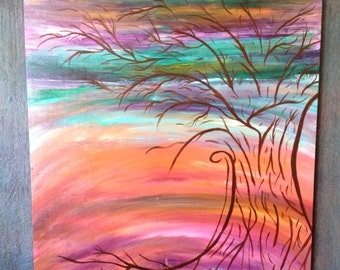 "Original Whimsical Abstract artwork, ""New Beginnings"" by Stina, mixed medium art, tree art, abstract tree"